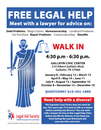 Gallatin 2nd Tuesday Legal Help Clinic @ Gallatin Civic Center | Gallatin | Tennessee | United States