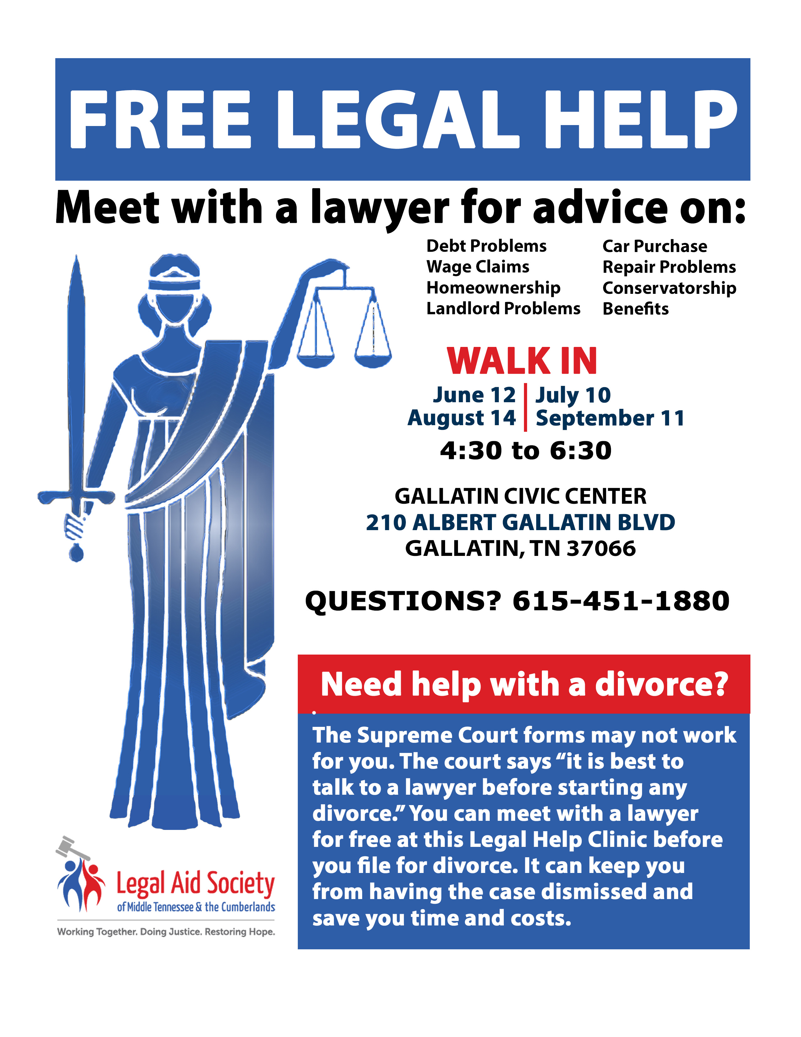 New Gallatin Divorce Clinic Legal Aid Society Of Middle Tennessee - Tennessee legal forms