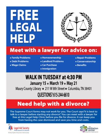 Maury County Legal Clinic @ Maury County Library | Columbia | Tennessee | United States