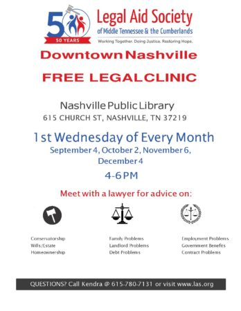 Downtown Nashville Free Legal Clinic @ Nashville Public Library | Nashville | Tennessee | United States